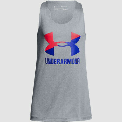 $95 Under Armour Kids Girls Gray Stretch Graphic Tee Moisture-Wicking Tank Top S
