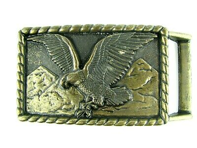 Vintage belt buckle - Flying American Eagle and rope design brass Mountains