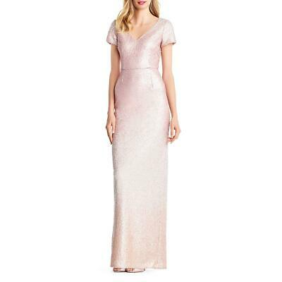 Adrianna Papell Womens Pink Sequined Ombre Prom Formal Dress Gown 8 BHFO 9443