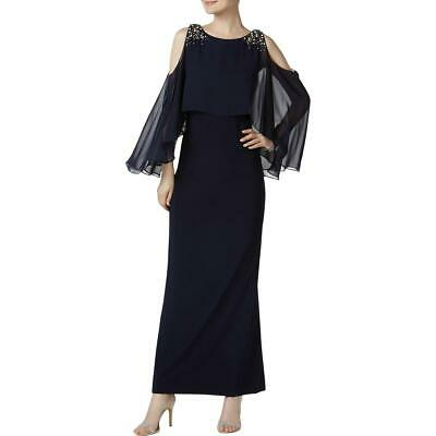 Vince Camuto Womens Navy Cold Shoulder Capelet Evening Dress Gown 8 BHFO 3948