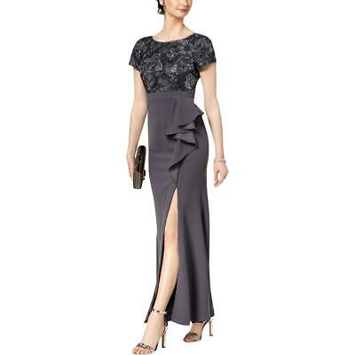 Adrianna Papell Womens Gray Floral Ruffled Evening Dress Gown 10 BHFO 4882