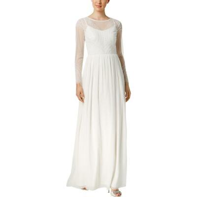 Adrianna Papell Womens Ivory Bridal Long Sleeves Evening Dress Gown 8 BHFO 3750