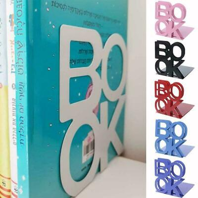 2x Heavy Duty Metal Letter Bookends Book Ends Office Stationery Supplies I4A3