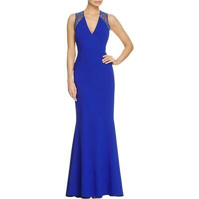 JS Collections Womens Blue V Neck Lace-Trim Evening Dress Gown 4 BHFO 4789
