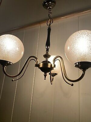 Vintage Murano Bubble Glass Globes Chandelier, 1970 Handblown Italian 3 Branch