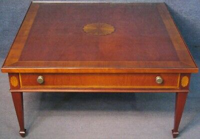 Edwardian Style Inlaid Mahogany Large Square Single Drawer Coffee Table