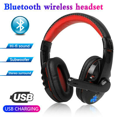 Wireless Gaming Headset Mic LED Headphones Surround for PC Mac PS4 Xbox One
