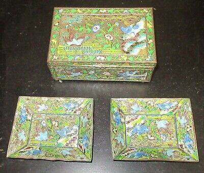 Old Cloisonne Repousse Enamel Chinese Birds Humidor Jar Box & Trays Set