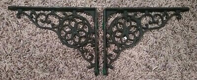 2 Cast Iron Antique Style Brackets. Vintage Rustic Shelf Bracket Black