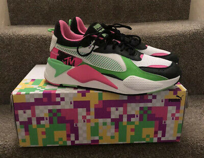 NEW PUMA RS X Tracks MTV Black Bold Pink White Green Size 9