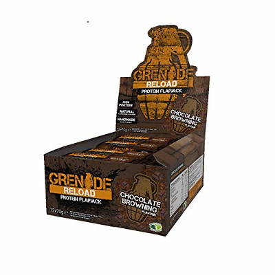 12x Grenade Reload Protein Flapjacks Bar 70g Chocolate Browning Meal Replacement