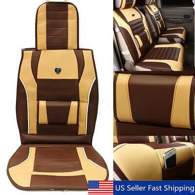 Breathable PU Leather Full Surround Car Seat Cover Comfy Front Seat Cushion US