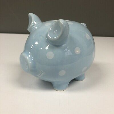 Polka Dot Ceramic Piggy Bank Blue With White Dots Collectible New