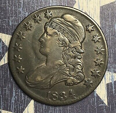 1834 Capped Bust Silver Half Dollar Large Date, Large Letters, Die Clash.
