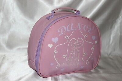 GIRLS SOFT PU BALLET VANITY CASE/ DANCE BAG With Ballet Shoe Motif Design