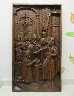 Large Wooden Deep Relief Carving Knights Knighthood Ceremony Wall Hanging Spain