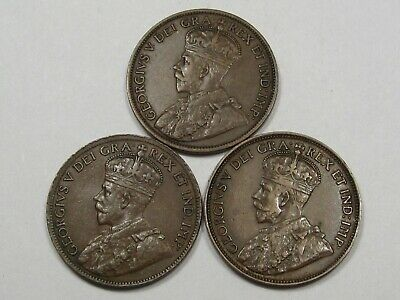3 VF/XF Canadian Large Cents George V w/ Full Crown: 1913, 1914, 1920.  #26