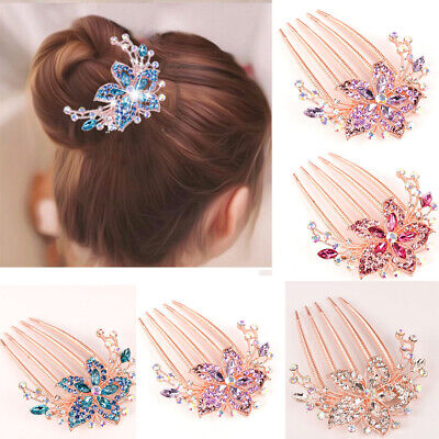 Elegant Womens Hair Rhinestone Comb Flower Headwear Accessory Hairpin Hot Inlaid