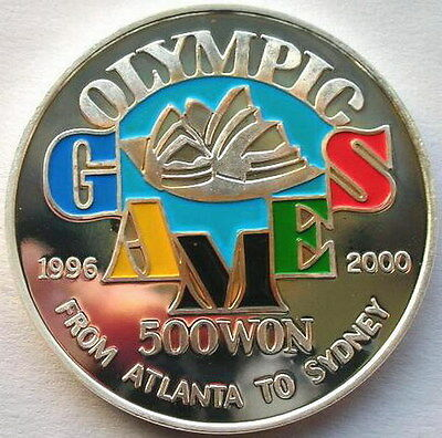 1996 Torch Relay 500 W 1oz Colour Silver Coin,Proof