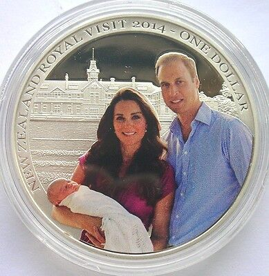 New Zealand 2014 Royal Visit Dollar 1oz Colour Silver Coin,Proof