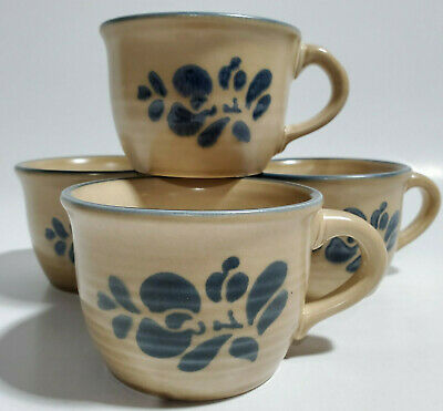 4 Pfaltzgraff Folk Art Cups Mugs Coffee Tea Different Back Stamps Used Blemish
