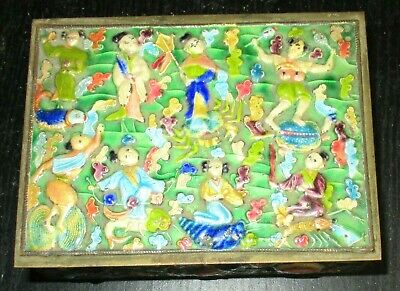 Nice Old Cloisonne Repousse Enamel Chinese People Design Humidor Jar Box