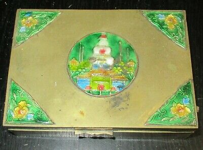 Old Cloisonne Repousse Enamel Chinese Temple Designed Humidor Jar Box