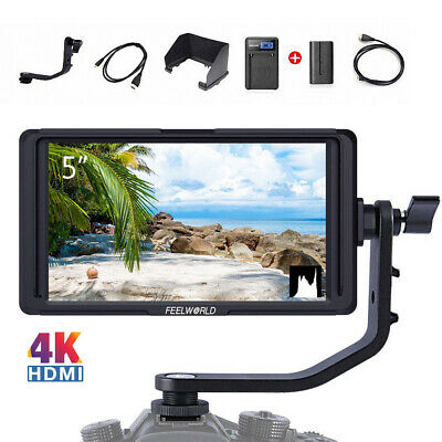 "FEELWORLD F5 5"" DSLR On Camera Field Monitor Small Full HD 1920x1080 IPS 4K HDMI"