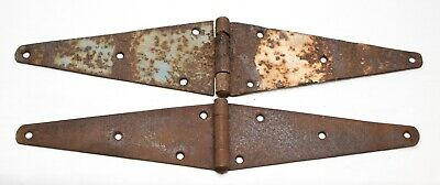 Antique Vintage Set of 2 Metal Large Hinges Barn Door Gate Rustic Strap Hinges