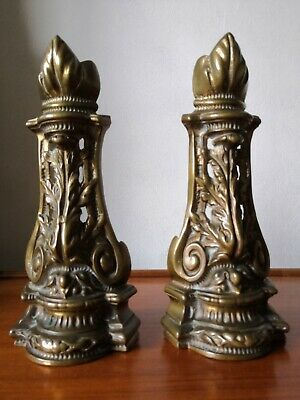 Antique Pair of Solid Brass Fire Dogs Vintage Reclaimed