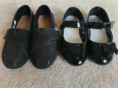 TWO PAIRS of GUC Little Girls Flat Black Shoes TOMS GEORGE  Size 10