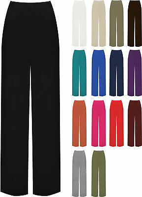 Womens Ladies Celebrity Inspired Palazzo Trousers Wide Leg Baggy Trouser 8-16