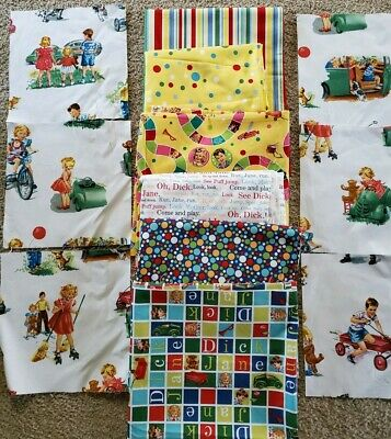 "Dick"" Lines From Book PRICE PR YARD 42"" Dick and Jane Fabric Michael Miller ""Oh"