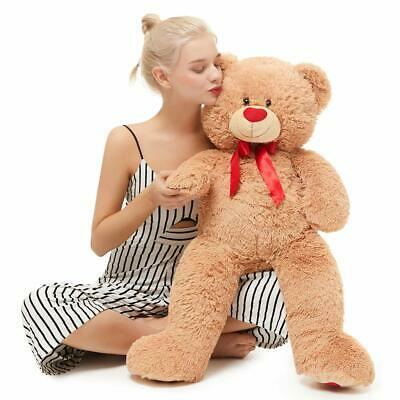 Valentines Day Giant Teddy Bear with Red Love Footprint Soft Brown Plush Bear