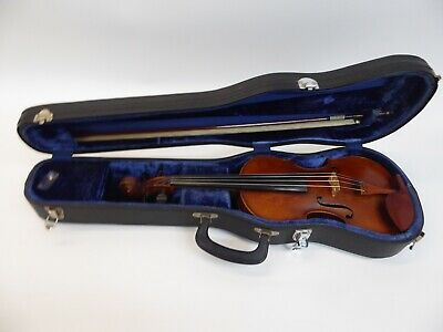 "Pre-1915 Antique Violin 4/4 14"" W/ Case & Becker Bow"