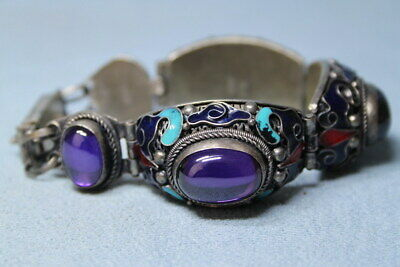 Exquisite Collectable Miao Silver Carving Purple Gems Beautiful Hand Catenary