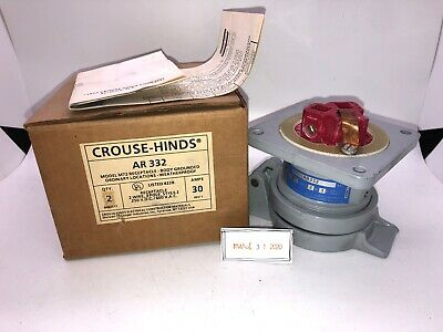 New CROUSE-HINDS ARKTITE RECEPTACLE AR332 AR 332 30A 2 Wire  3 Pole