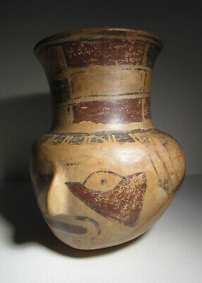 Pre-Columbian Nazca Polychrome Head Jar, 400 - 700 AD