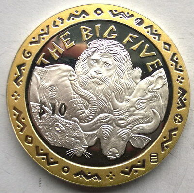 Sierra Leone 2001 Animal Big Five 10 Dollars Gild Silver Coin,Proof