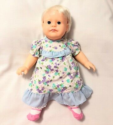 Hasbro 1986 Real Baby Doll Baby Girl Doll Blonde Hair Blue Eyes Good Condition