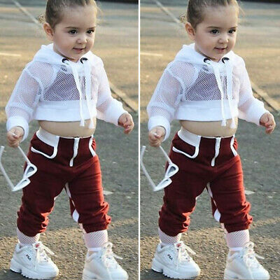 3PCS Toddler Kids Baby Girl Clothes Hooded Crop Tops Sweatpants Outfit Tracksuit