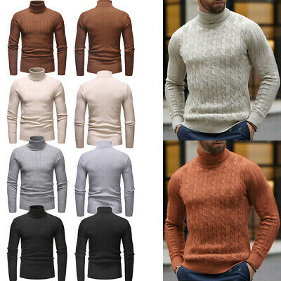 Mens Winter Warm Knitted Polo Roll Turtle Neck Pullover Sweater Slim Jumper Tops