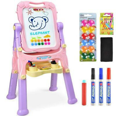 New Kids Folding Double Sided Magnetic Drawing Board Easel with Colour Chalk UK