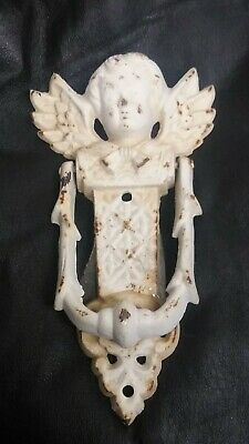"Vintage, Door Knocker ,Gothic, Angel Cherub Wings 8"" Cast Iron, weathered"