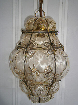 Antique Victorian Vintage Yellow Glass & Metal Pendant Light Shade & Chain 1900s