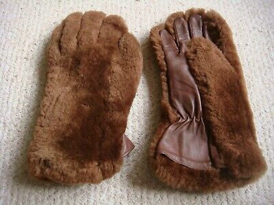 Vintage CC41 Utility 1940's Leather &  Faux Fur Gauntlet Teddy Bear Gloves 7/7.5