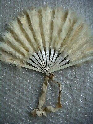 Original Vintage Wedding ? White Feather & Wood with Silver Painted Birds