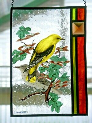 """Leaded Glass Window Image Bernhardt- Stained """" Oriole """" with Real Antique"""