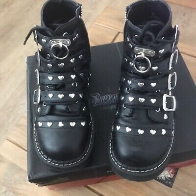 Pleaser Demonia Emily 315 Black Lace Up Buckled Strap Heart Studded Ankle Boots