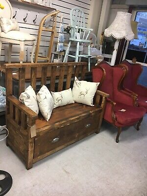 Victorian Antique Style Vintage Real Pine Storage Bench,Kent Furniture Showroom